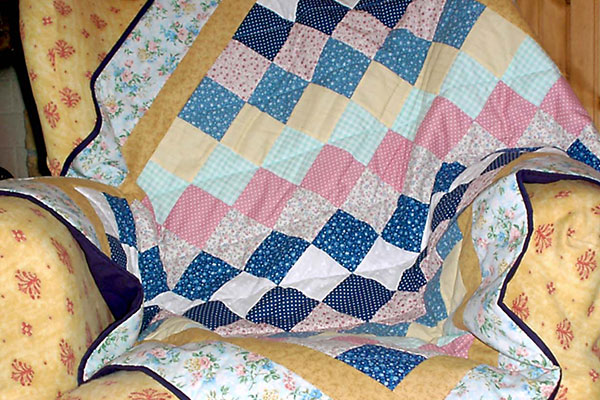 Lap Quilt in diagonale